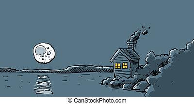 pieno, cabina, luna