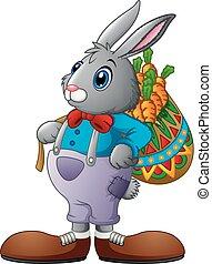 pieno, carote, portante, coniglio, cesto, cartone animato