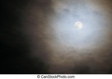 pieno, cielo, nuvoloso, luna
