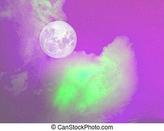 pieno, cielo viola, luna, verde, nuvola