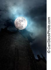 pieno, cimitero, luna