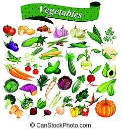 pieno, collezione, di, differente, tipi, di, fresco, e, sano, verdura