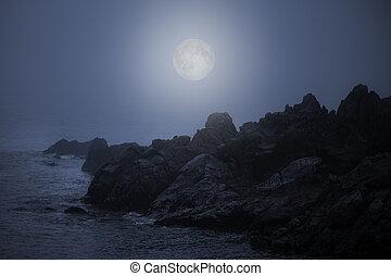 pieno, costa rocciosa, notte, nebbioso, luna