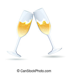 pieno di bolle, dorato, champagne, due, flauti