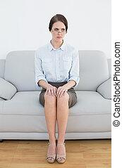 pieno, divano, bene, lunghezza, donna, vestito, serio
