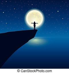 pieno, godere, braccio, luna, elevato, oceano, ragazza