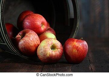 pieno, grunge, homey, legno, mele, fondo, barile, rosso