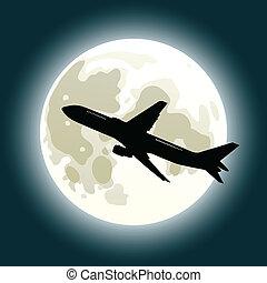 pieno, jet, luna