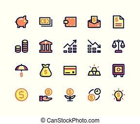 pieno, linea, icone, finanziario