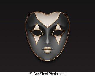 pieno, maschera carnevale, faccia, realistico, vettore, femmina