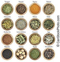 pieno, metallo, collezione, erbe, ciotole, spezie