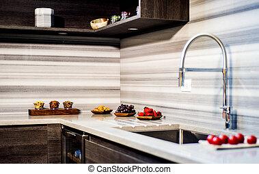 pieno, modeled, cibo, moderno, pop, colors., angolo, kicthen, nuovo, cucina