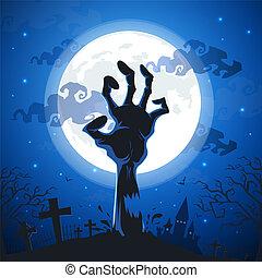 pieno, moon., halloween, zombie, fondo, mani