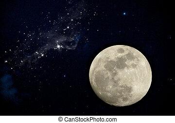 pieno, night., luna