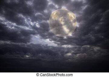 pieno, notte, luna, ocercast