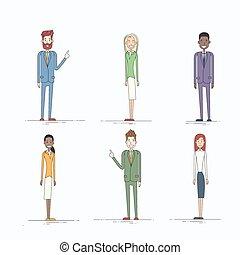 pieno, persone affari, carattere, lunghezza, set, cartone...