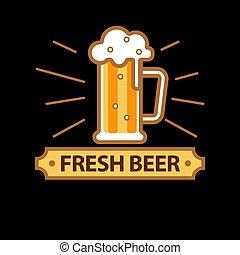 pieno, promo, birra, logotype, boccale vetro, fresco
