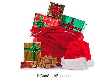 pieno, regalo, claus, sacco, presenta, santa, involvere