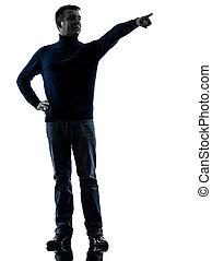 pieno, silhouette, indicare, lunghezza, dito, uomo