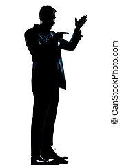 pieno, silhouette, lunghezza, minaccioso, amichevole, uomo