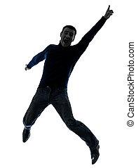 pieno, silhouette, lunghezza, saltare, uomo, felice