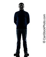pieno, silhouette, lunghezza, sorridente, amichevole, uomo