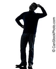 pieno, silhouette, pensare, dubbioso, lunghezza, uomo