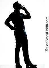 pieno, silhouette, sigaretta, lunghezza, fumo, uomo