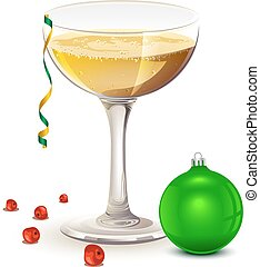 pieno, simboli, vetro, champagne., anno, nuovo