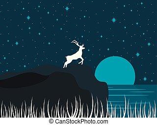 pieno, sky., stellato, moon., cervo, illustrazione, lake., riva, vettore, notte, paesaggio fiume