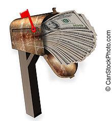pieno, soldi., cassetta postale