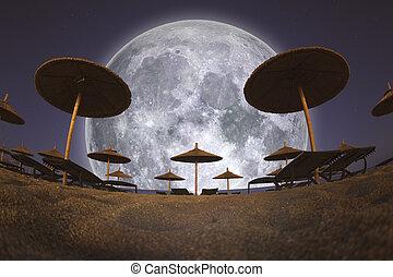 pieno, spiaggia, ombrelli, luna