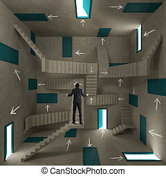 Pieno, stanza, frecce, confuso, porte, uomo affari, scale