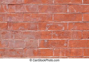 pieno, struttura parete, grungy, mattone, rosso