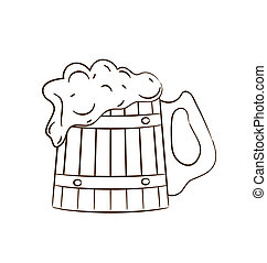 pieno, tazza, legno, isolato, birra, fondo, bianco