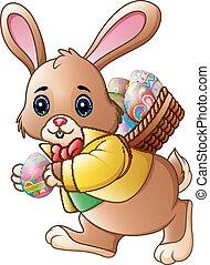 pieno, uova, cartone animato, cestino trasportante, coniglietto pasqua