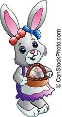 pieno, uova, cartone animato, cesto, coniglietto pasqua