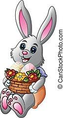 pieno, uova, cartone animato, presa a terra, cesto, coniglietto pasqua