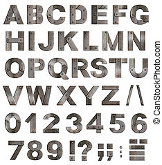 pieno, vecchio, metallo, alfabeto, lettere, cifre, e, punteggiatura, contrassegni, isolato, bianco