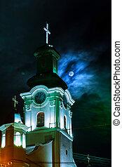 pieno, vecchio, notte, luna, chiesa, europeo
