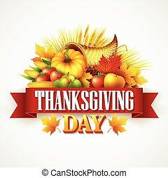 pieno, vegetables., cornucopia, frutte, ringraziamento, illustrazione, augurio, autunno, vettore, cadere, design., leaves., raccogliere, celebration., zucca
