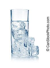 pieno, vetro, di, fresco, fresco, acqua carbonated, con, ghiaccio, isolato
