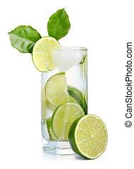 pieno, vetro, di, fresco, fresco, tonico, con, calce, frutte, isolato