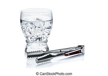 pieno, vetro, di, fresco, fresco, trasparente, annaffi ghiaccio