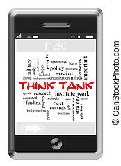piense tanque, palabra, nube, concepto, en, touchscreen, teléfono