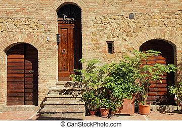 pienza, 古い, 絵のよう, 壁, ドア, 村, tuscan, イタリア