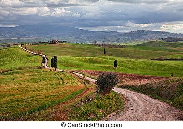 Pienza, Siena, Tuscany, Italy: landscape of the hills where ...