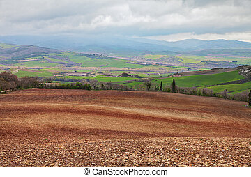 Pienza, Siena, Tuscany, Italy: landscape of the Val d'Orcia ...