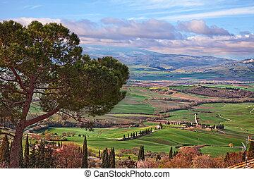 Pienza, Siena, Tuscany, Italy: landscape of the Vall d'Orcia...