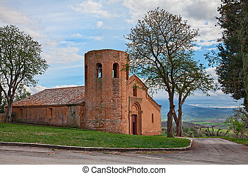 Pienza, Siena, Tuscany, Italy: the medieval church Pieve di ...